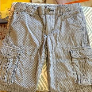 Tommy Hilfiger navy pinstriped cargo shorts.